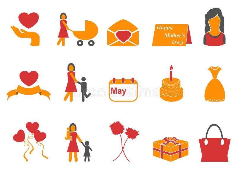 Icônes heureuses de jour de mères de couleur orange et rouge réglées illustration de vecteur