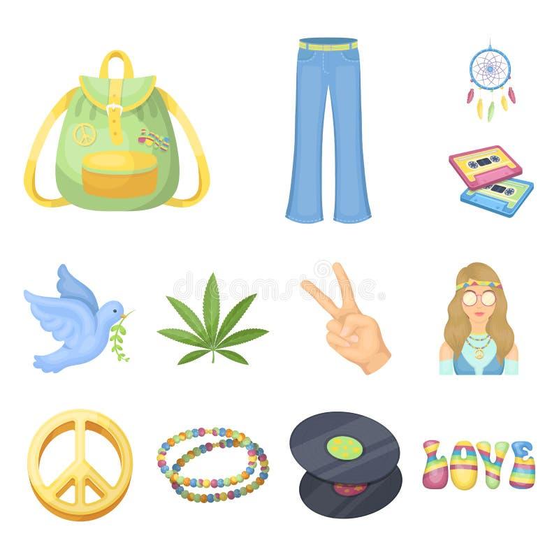 Icônes heureuses et d'attribut de bande dessinée dans la collection d'ensemble pour la conception Web heureux et d'accessoires de illustration libre de droits