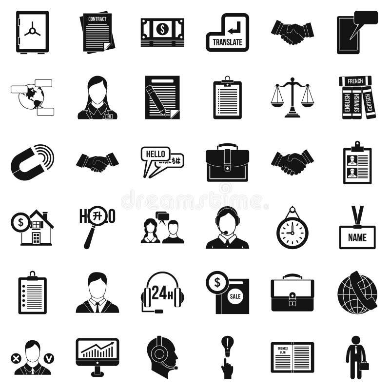 Icônes importantes de discussion réglées, style simple illustration libre de droits