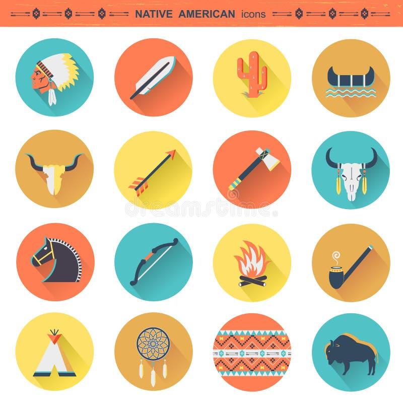 Icônes indigènes d'Indiens d'Amerique isoated illustration de vecteur