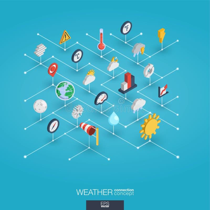 Icônes intégrées du Web 3d de prévisions météorologiques Concept isométrique de réseau de Digital illustration stock