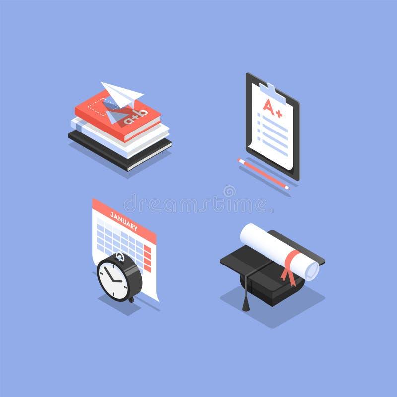 Icônes isométriques éducatives illustration libre de droits