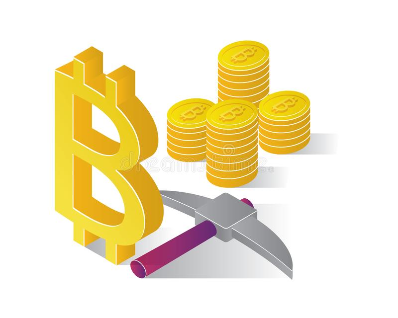 Icônes isométriques avec le concept de blockchain d'ico, bitcoin sûr, exploitation de cryptocurrency, vecteur d'isolement par pro illustration de vecteur