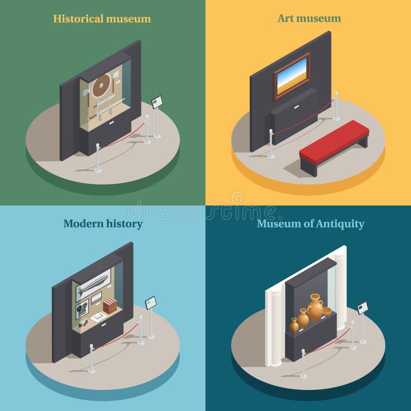 Icônes isométriques de l'étalage 4 de musée illustration libre de droits