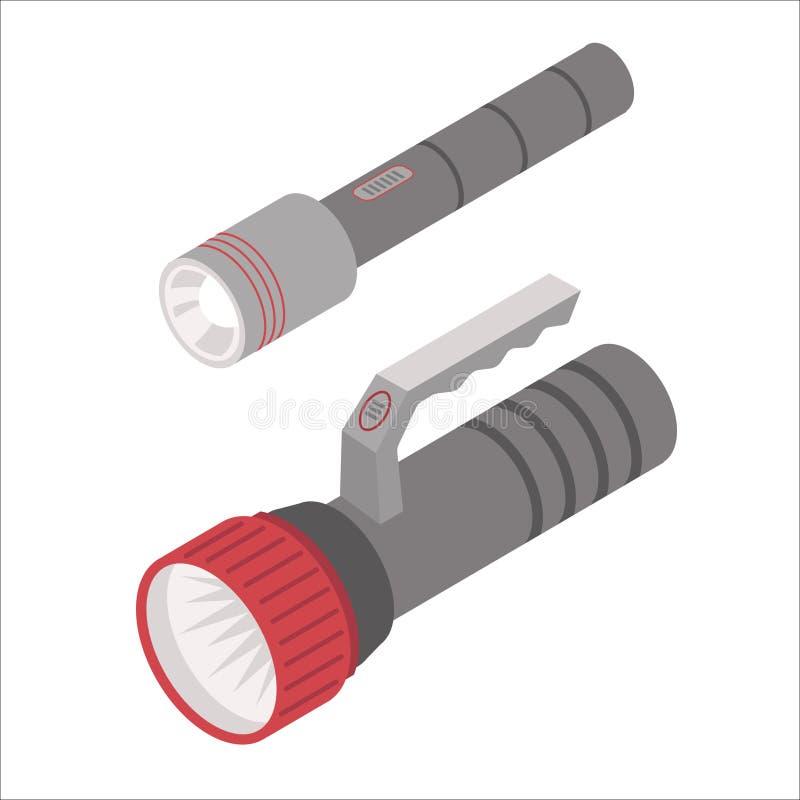 Icônes isométriques de lampe-torche d'isolement sur le fond blanc illustration libre de droits