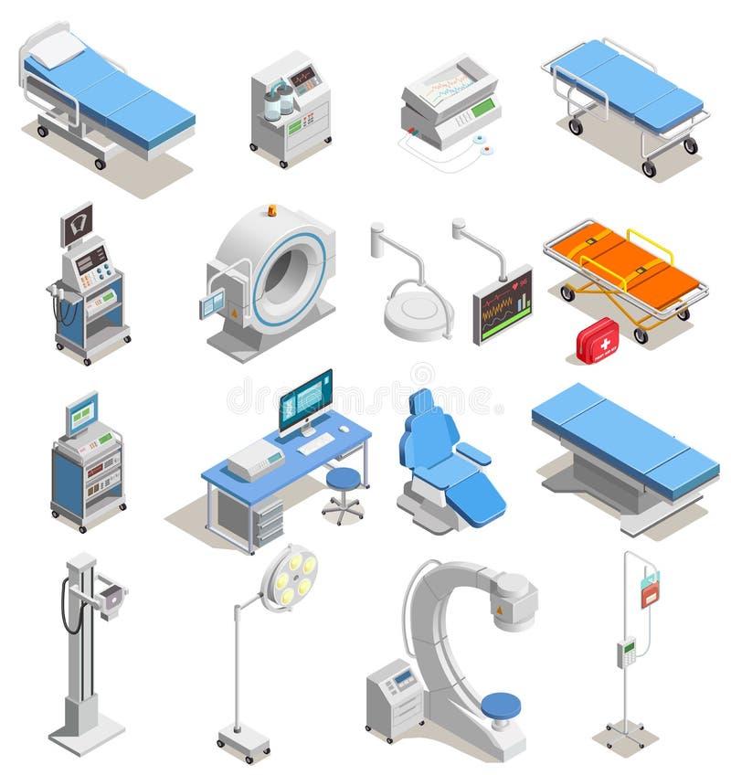 Icônes isométriques de matériel médical illustration libre de droits