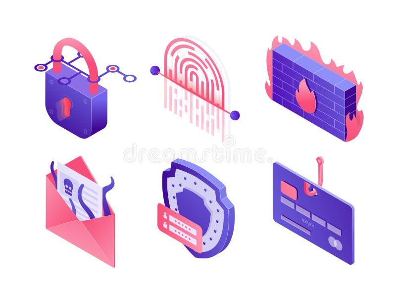 Icônes isométriques de sécurité de Cyber d'isolement sur le fond blanc Placez des illustrations des données sûres, protection d'e illustration libre de droits
