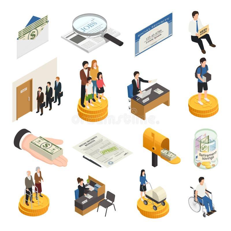 Icônes isométriques de sécurité sociale illustration stock