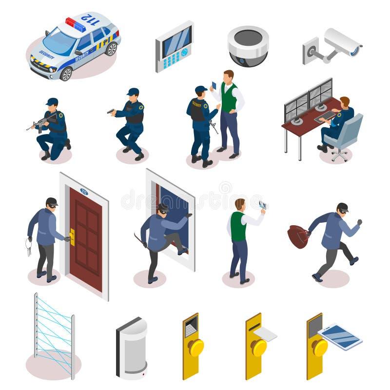 Icônes isométriques de systèmes de sécurité illustration libre de droits