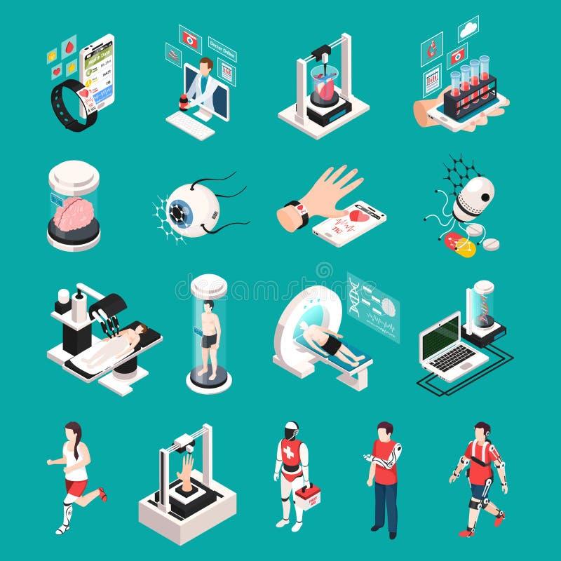 Icônes isométriques de technologie médicale illustration stock