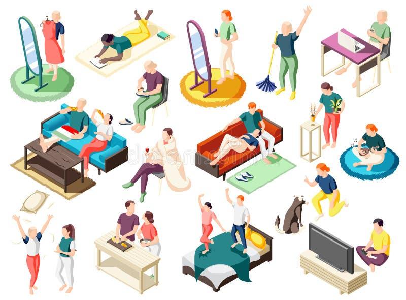 Icônes isométriques de week-end à la maison illustration stock