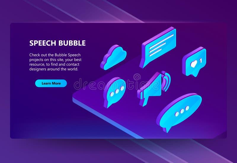 icônes isométriques du vecteur 3d des bulles de la parole illustration libre de droits