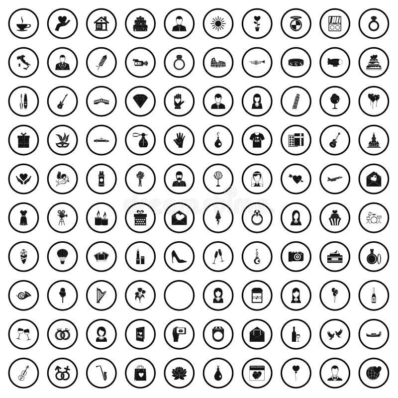 100 icônes les épousant réglées, style simple illustration stock