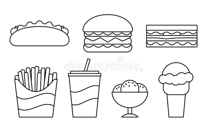 Icônes linéaires d'aliments de préparation rapide dans la conception plate Illustration de vecteur illustration libre de droits
