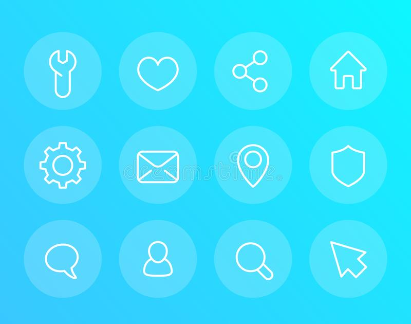 Icônes linéaires de base de vecteur pour le Web et les applis illustration de vecteur