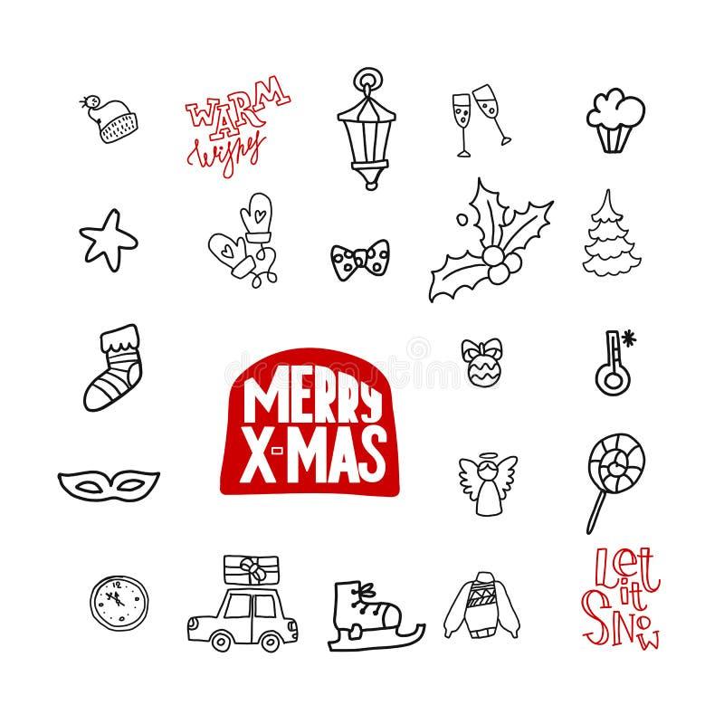Icônes linéaires de Noël de griffonnage illustration libre de droits