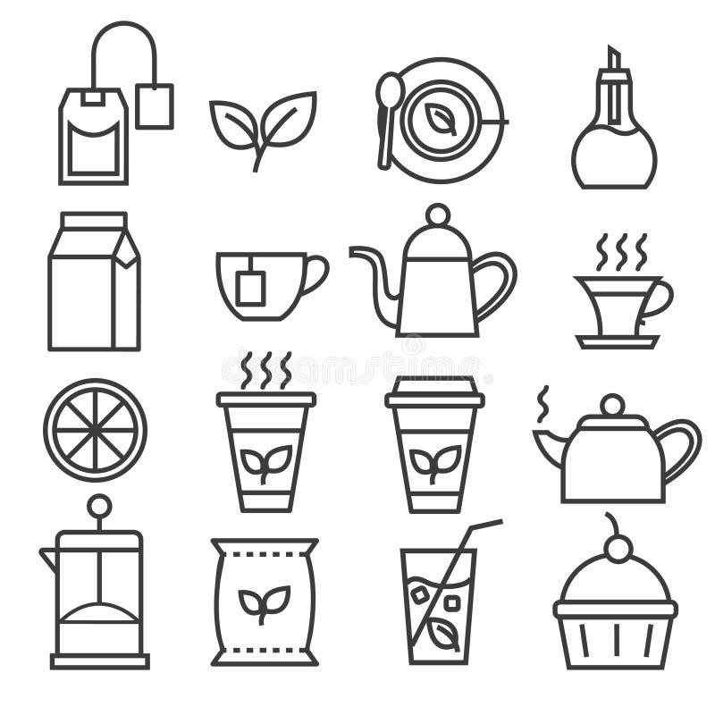 Icônes linéaires de thé réglées photo stock