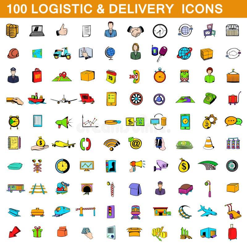 100 icônes logistiques et de la livraison ont placé, style de bande dessinée illustration de vecteur