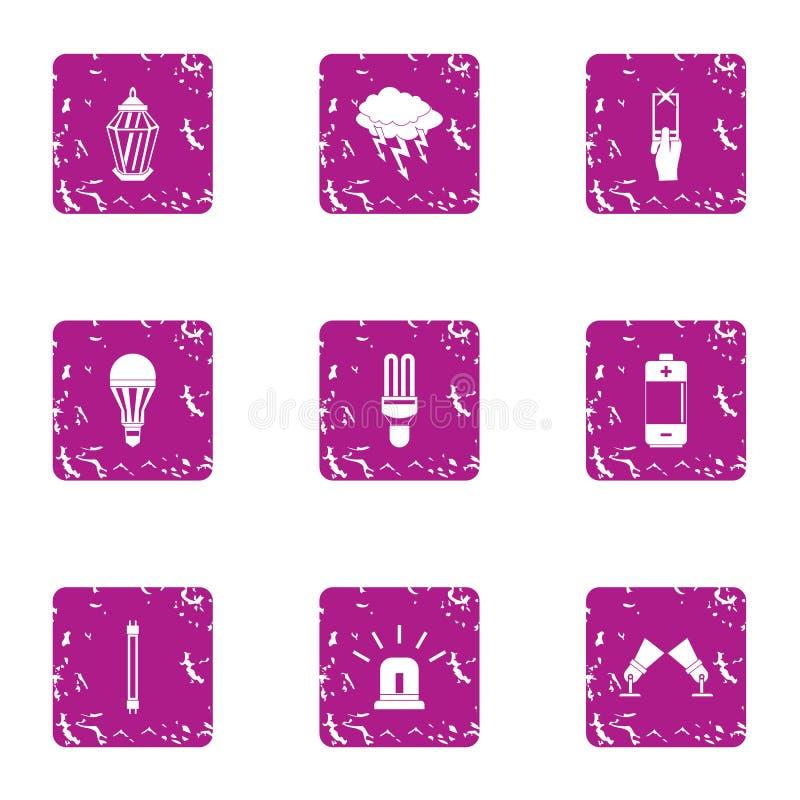 Icônes lumineuses de nuit réglées, style grunge illustration libre de droits