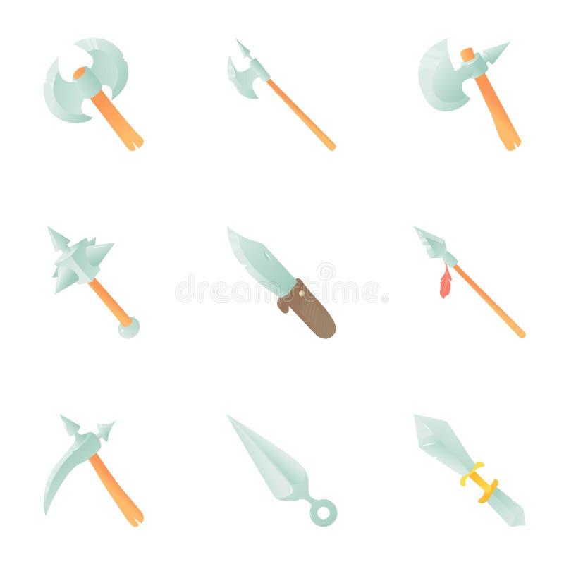 Icônes médiévales d'arme réglées, style de bande dessinée illustration stock