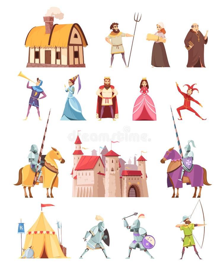Icônes médiévales de bâtiments de caractères réglées illustration stock