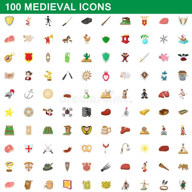 100 icônes médiévales réglées, style de bande dessinée illustration de vecteur