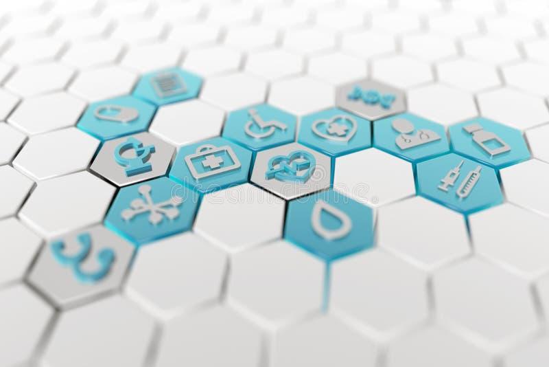 Icônes médicales dans le modèle hexagonal illustration stock
