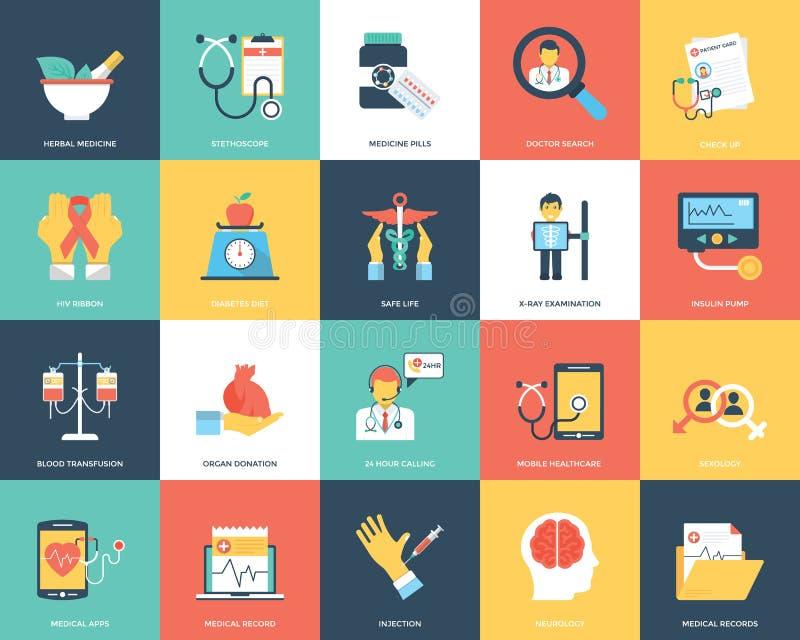 Icônes médicales et de soins de santé réglées photographie stock libre de droits