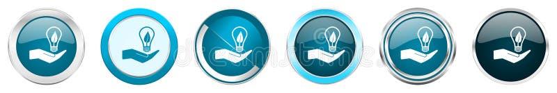Icônes métalliques argentées de frontière de chrome d'ampoule d'écologie en main dans 6 options, réglées des boutons ronds bleus  illustration stock