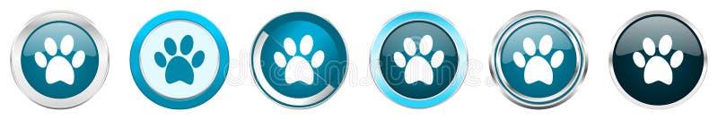 Icônes métalliques argentées de frontière de chrome de pied dans 6 options, ensemble de boutons ronds bleus de Web d'isolement su illustration libre de droits