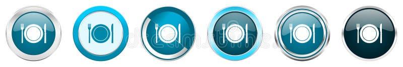 Icônes métalliques argentées de frontière de chrome de restaurant dans 6 options, ensemble de boutons ronds bleus de Web d'isolem illustration libre de droits