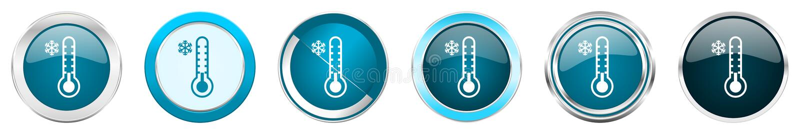 Icônes métalliques argentées de frontière de chrome de thermomètre froid dans 6 options, réglées des boutons ronds bleus de Web d illustration libre de droits
