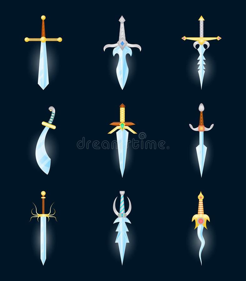 Icônes magiques de couleur d'épées de bande dessinée réglées Vecteur illustration libre de droits