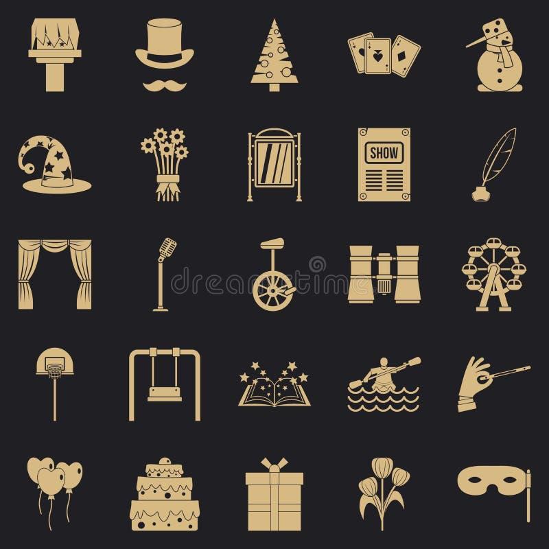 Icônes magiques de représentation réglées, style simple illustration stock