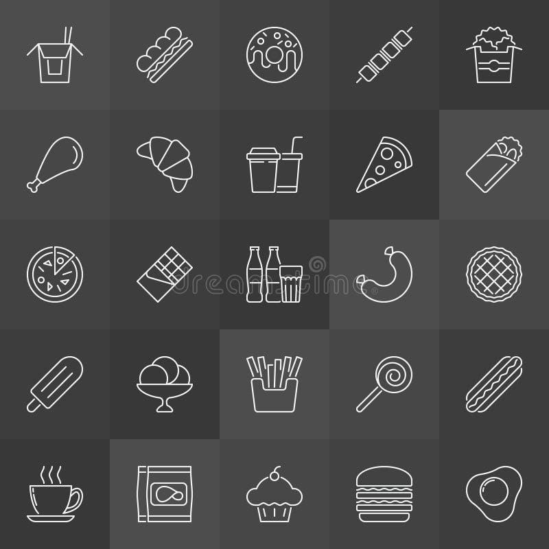Icônes malsaines d'ensemble de nourriture industrielle réglées Signes d'aliments de préparation rapide de vecteur illustration stock