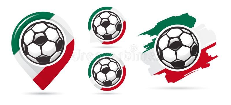 Icônes mexicaines de vecteur du football But du football Ensemble d'icônes du football illustration libre de droits