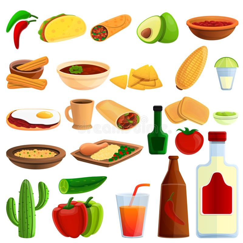 Icônes mexicaines ensemble, style de nourriture de bande dessinée illustration libre de droits
