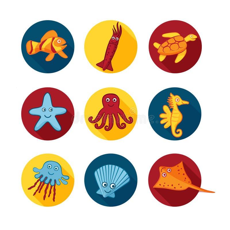 Icônes mignonnes d'animaux de mer en cercles de couleur pour des autocollants et icônes pour des conceptions d'enfants illustration de vecteur