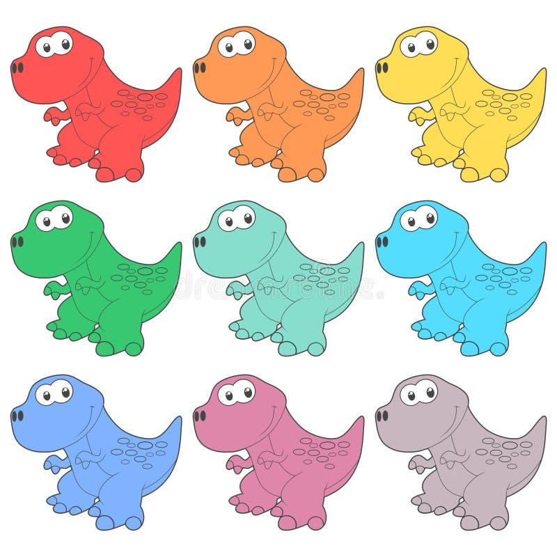 Icônes mignonnes de dinosaure de bande dessinée réglées illustration de vecteur