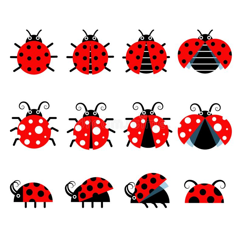 Icônes mignonnes de vecteur de coccinelle icônes de style de la bande d'insecte illustration libre de droits