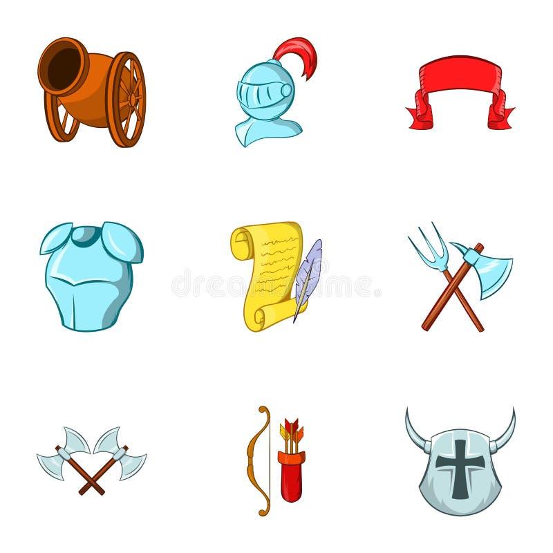 Icônes militaires de Moyens Âges réglées, style de bande dessinée illustration stock