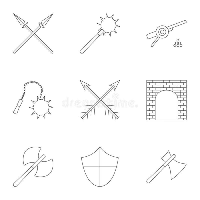 Icônes militaires de Moyens Âges réglées, style d'ensemble illustration de vecteur