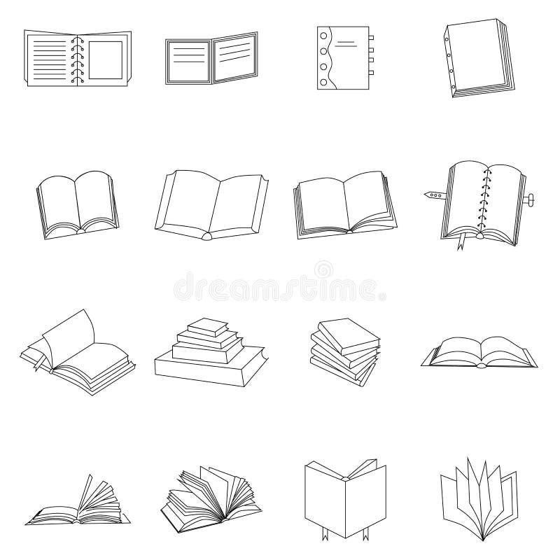 Icônes minces de livre réglées illustration libre de droits