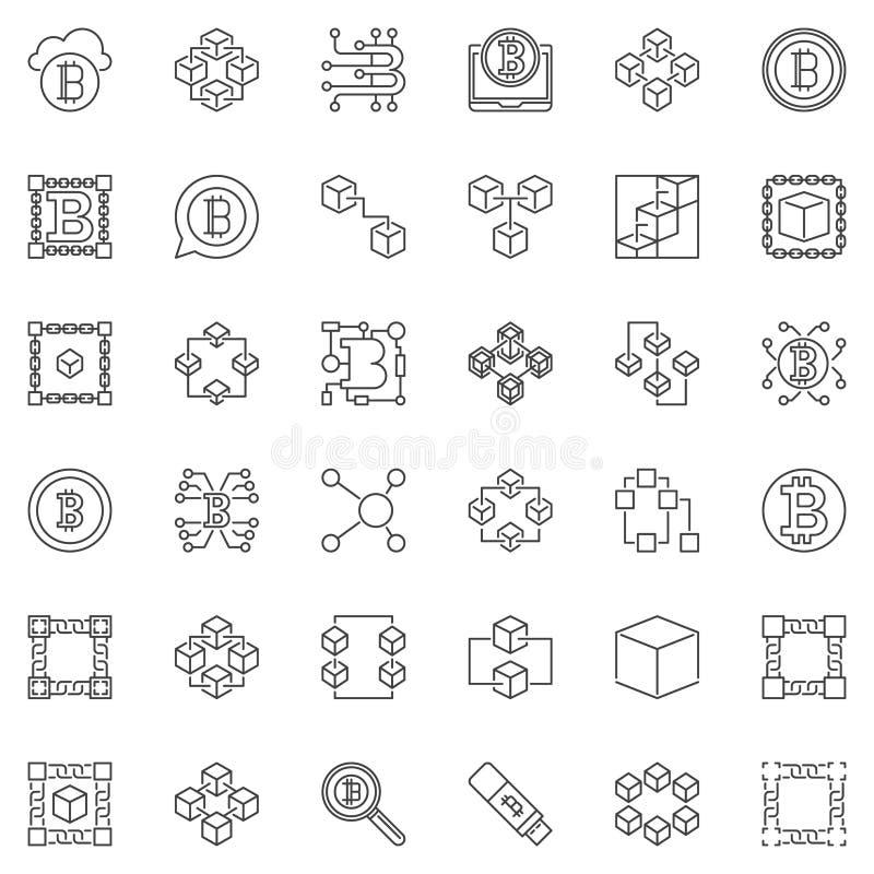 Icônes minimales de vecteur de Blockchain réglées dans le style d'ensemble illustration de vecteur