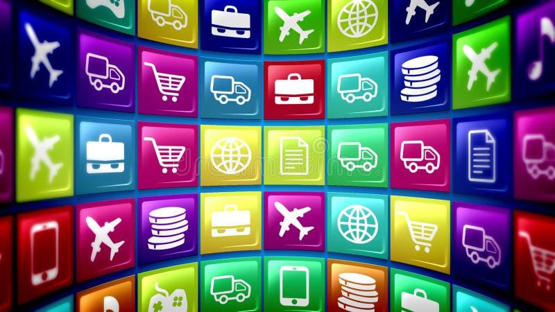 Icônes mobiles sphériques d'application illustration libre de droits