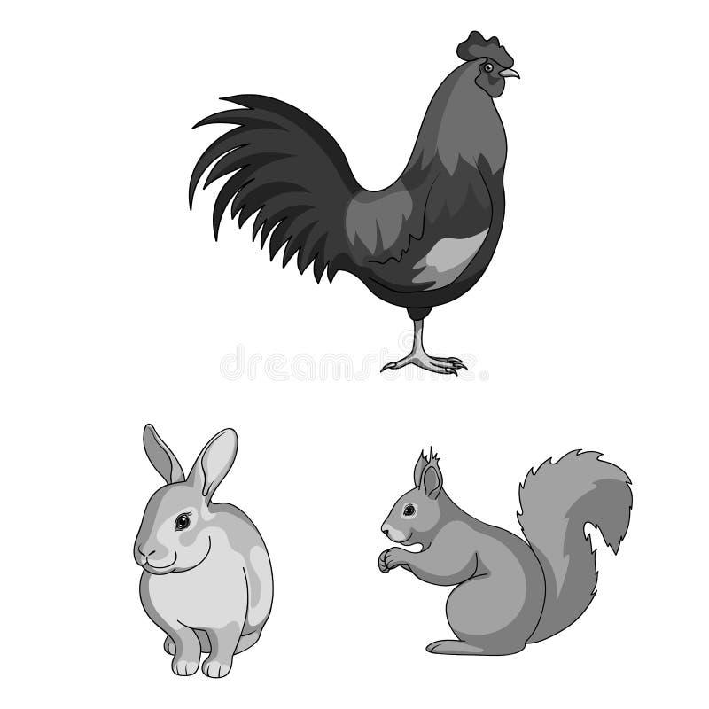 Icônes monochromes d'animaux réalistes dans la collection d'ensemble pour la conception Les animaux sauvages et domestiques dirig illustration de vecteur