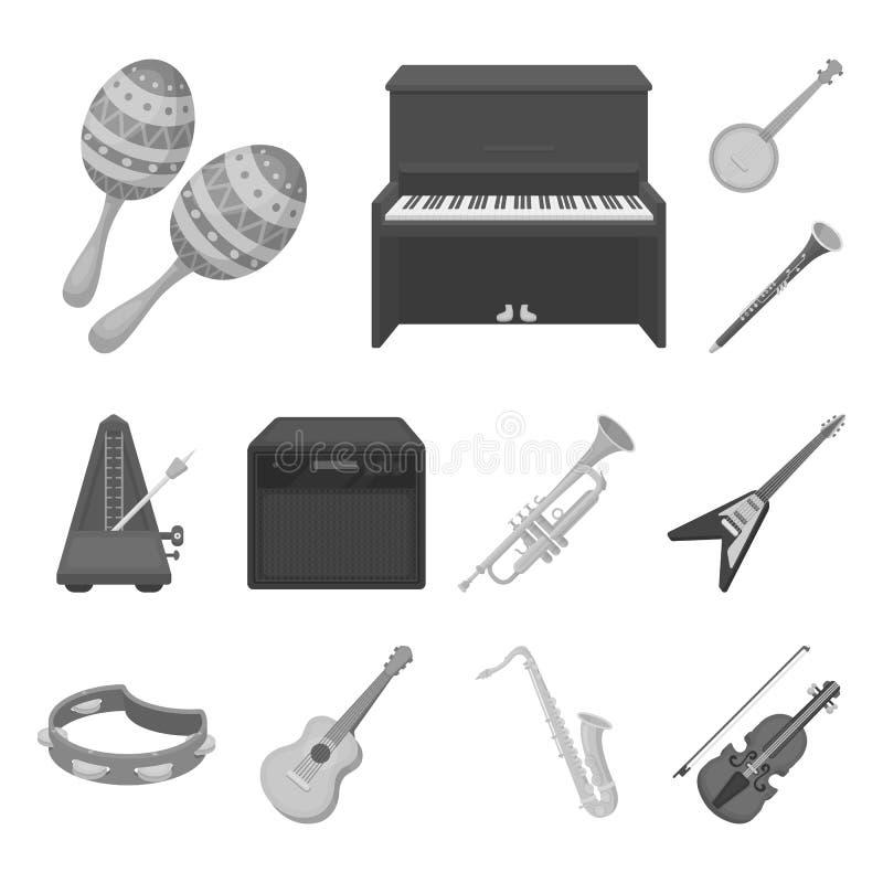 Icônes monochromes d'instrument de musique dans la collection d'ensemble pour la conception L'instrument de ficelle et de vent di illustration libre de droits