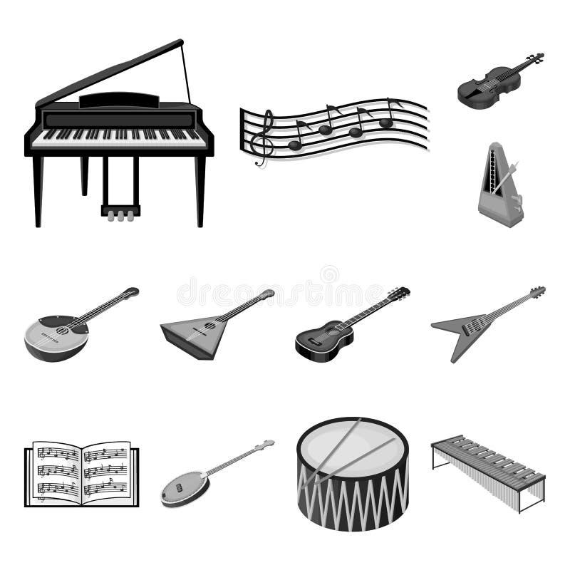 Icônes monochromes d'instrument de musique dans la collection d'ensemble pour la conception Symbole isométrique de vecteur d'inst illustration stock