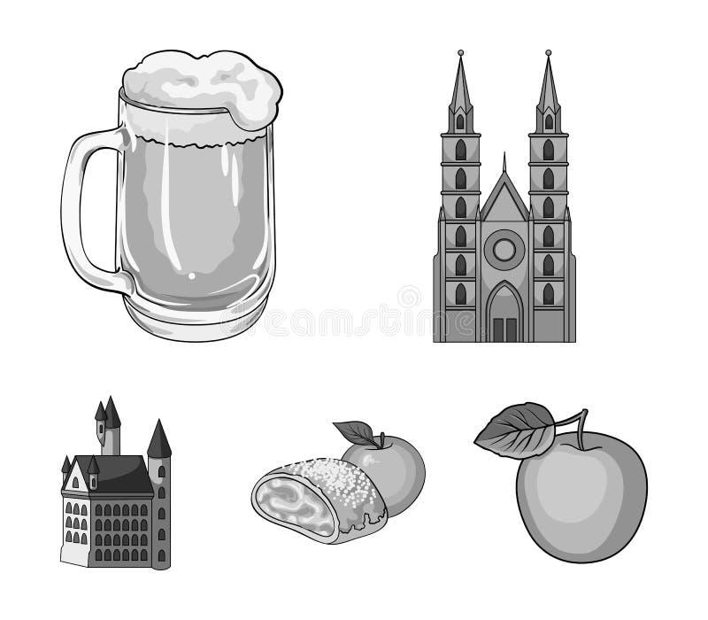 Icônes monochromes de l'Allemagne de pays dans la collection d'ensemble pour la conception L'Allemagne et le point de repère diri illustration libre de droits