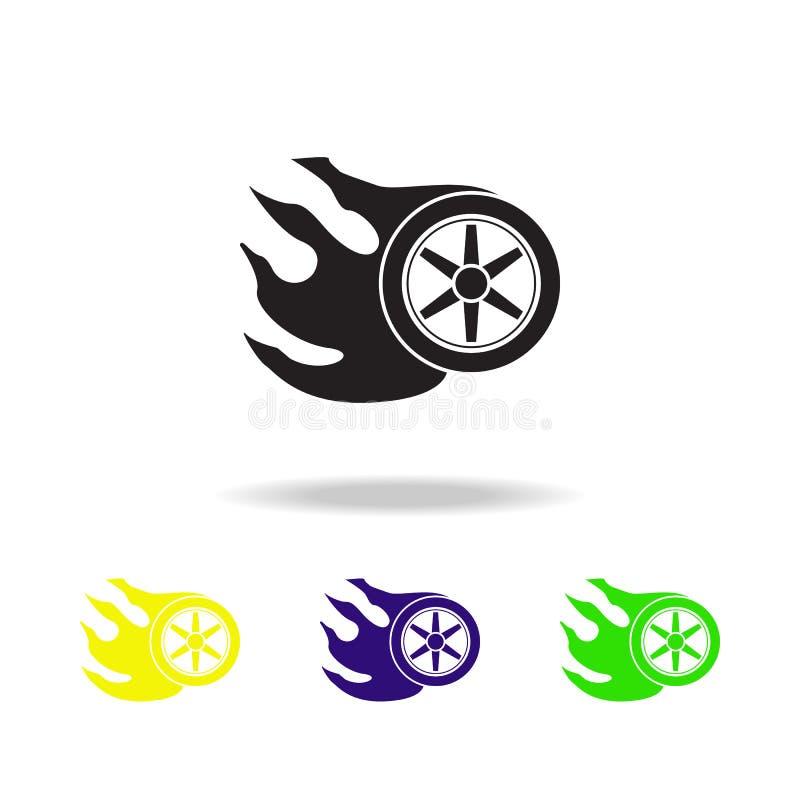 Icônes multicolores brûlantes de roue Icône d'élément de camions de monstre Signes de bébé, icône de collection de symboles d'ens illustration libre de droits